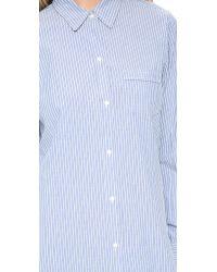 Nili Lotan White Novelty Chambray Stripe Shirt