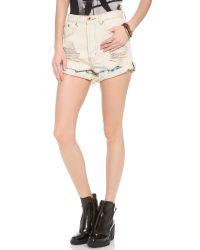 One Teaspoon Natural Bleach Tie Dye Outlaws Shorts