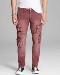 PRPS Red Utilitarian Cargo Pants for men