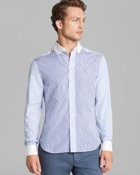 Shipley & Halmos Blue Tonal Block Banker Stripe Sport Shirt Slim Fit for men
