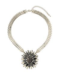 TOPSHOP - Brown Flower V Chain Necklace - Lyst