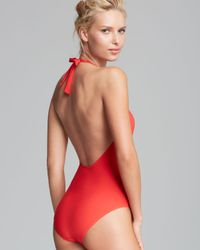 Tory Burch Red Solid Logo One Piece Swimsuit