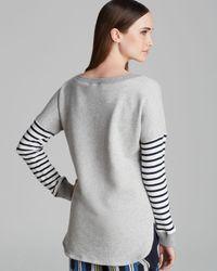 Trina Turk Gray Sweatshirt Iona Stripe French Terry