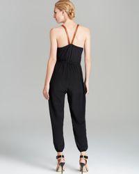 Twelfth Street Cynthia Vincent Black Jumpsuit Leather Strap Silk