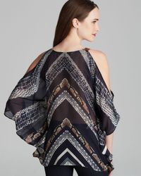 Twelfth Street Cynthia Vincent Gray Blouse Cold Shoulder Silk