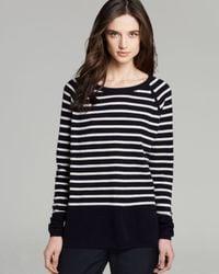 Vince Black Sweater Color Block Breton Stripe Cashmere