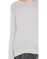 Vince Gray Directional Rib Raglan Sweater