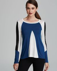 Aiko Blue Top Heriard Leather Color Block