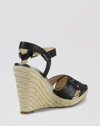 Cole Haan Black Peep Toe Platform Espadrille Wedge Sandals Hart