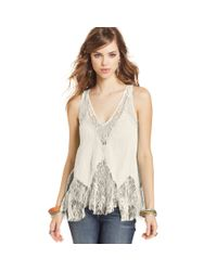 Free People - Natural Sleeveless Lace Highlow Top - Lyst
