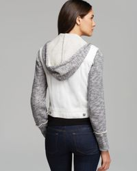 Free People White Denim And Knit Hooded Jacket