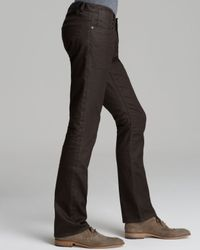 John Varvatos Brown Jeans Bowery Slim Straight Fit in Chocolate for men