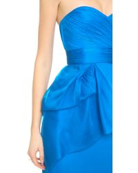 Notte by Marchesa Blue Strapless Chiffon Gown