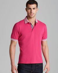 Robert Graham Pink Axel Stripe Collar Short Sleeve Polo for men