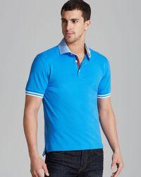 Robert Graham Blue Axel Stripe Collar Short Sleeve Polo for men