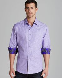 Robert Graham Purple Lost and Found Paisley Woven Sport Shirt Classic Fit for men