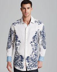 Robert Graham White Savannah Linen Sport Shirt Classic Fit for men