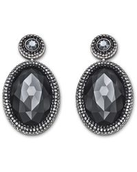Swarovski | Gray Palladium-Plated Black Crystal Drop Earrings | Lyst