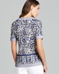 Tory Burch Blue Embroidered Printed Silk Top