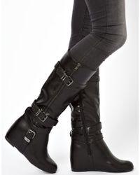 ALDO Black Xavierre Wedge Strap Knee Boots