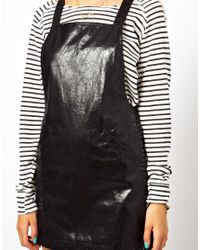 ASOS Black Exclusive Pinafore Dress in Faux Leather