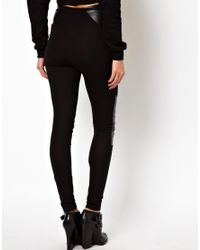 ASOS Black Leggings In High Waist With Leather Look Panel
