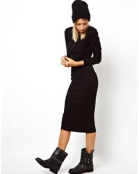 ASOS Black Midi Ribbed Bodycon Dress with Long Sleeve