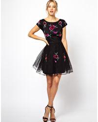 ASOS Black Pretty Embellished Rose Skater