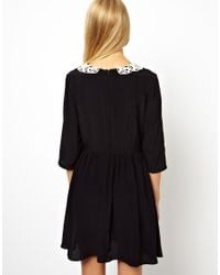 ASOS Black Skater Dress with Crochet Collar
