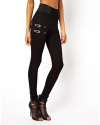 ASOS Black High Waisted Pants with 90s Buckle Detail