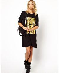 ASOS Metallic T-Shirt Dress With Cracked Foil Print