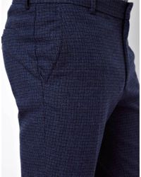 ASOS Skinny Suit Trousers In Blue Dogstooth for men