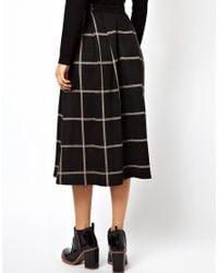 ASOS Black Full Midi Skirt in Squared Check Print
