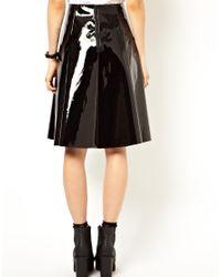 ASOS Black Asos Full Midi Skirt in Patent