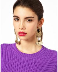 ASOS - Metallic Lucky Coin Earrings - Lyst