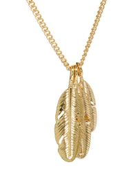 ASOS - Metallic Necklace with Feather Pendants for Men - Lyst