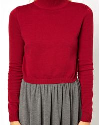 ASOS Red Cropped Sweater with High Neck
