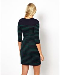 ASOS Gray Exclusive Dress in Breton Stripe with Button Shoulder