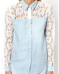 ASOS Blue Denim Shirt with Lace Back and Sleeve Detail
