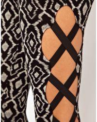 ASOS Black Leggings in Tribal Print with Side Elastic Criss Cross Detail