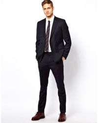 ASOS Blue Slim Fit Suit Trousers In Italian Fabric for men