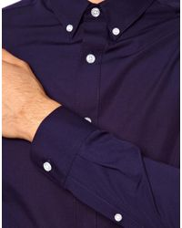 ASOS Blue Smart Shirt In Long Sleeve With Button Down Collar for men