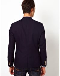 ASOS - Black Slim Fit Blazer With Gold Buttons for Men - Lyst
