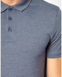 ASOS Jersey Polo In Blue for men