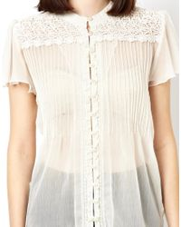 ASOS - Natural Blouse with Lace Yoke and Pintuck Detail - Lyst