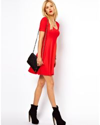 ASOS Red Skater Dress With Sweetheart Neck And Short Sleeves.