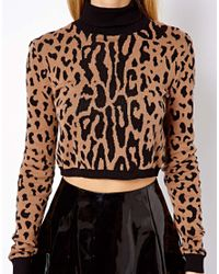 ASOS Red Cropped Jumper With Roll Neck In Leopard