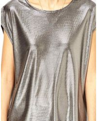ASOS - T Shirt in Pleated Metallic Fabric - Lyst