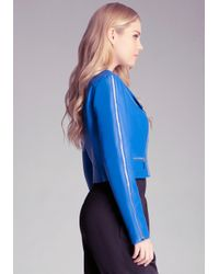 Bebe - Blue Faux Leather Jacket - Lyst