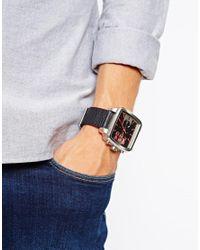 DIESEL Black Square Franchise Watch Leather Strap for men